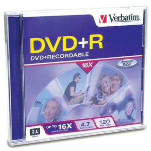 VERBATIM - AMERICAS LLC DVD+R 4.7GB 16X BRANDED SURFACE 1PK JEWEL CASE