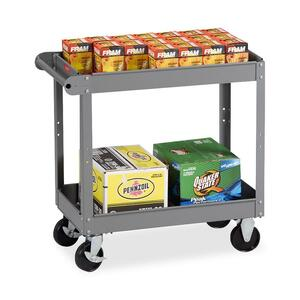 "Tennsco Two Shelf Service Cart - 2 Shelf - 4 - Metal - 16"" x 30"" x 32"" - Medium Gray"
