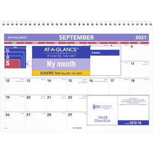 "At-A-Glance 16 Months Academic Calendar - Monthly - 8"" x 11"" - September till December - 1 Month Per 2 Page(s) - White"