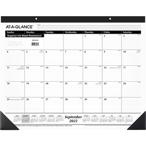 "At-A-Glance Nonrefillable 16-Month Desk Pad - Monthly - 22"" x 17"" - September till December - 1 Month Per 1 Page(s) - Vinyl Corner, Paper - Black"