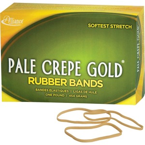 "Alliance Rubber Pale Crepe Gold Rubber Band - Size: 33 - 3.5"" Length x 0.12"" Width - Biodegradable, Sustainable - 970 / Box - Crepe - Natural"
