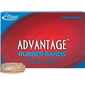 "Alliance Rubber Advantage Rubber Bands - Size: 16 - 2.5"" Length x 0.06"" Width - 1 Box - Natural"