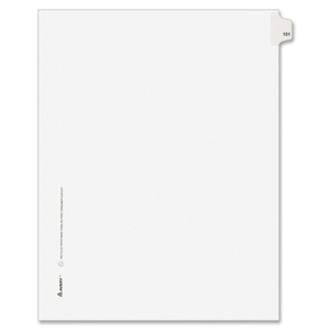 "Avery Style Individually Numbered Tab - 1 x Tab Printed 101 - 8.5"" x 11"" - 25 / Pack - White Divider"