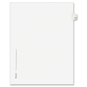 "Avery Style Individually Numbered Tab - 1 x Tab Printed 104 - 8.5"" x 11"" - 25 / Pack - White Divider"