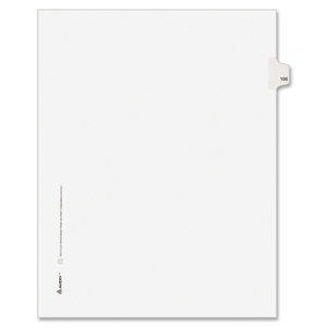 "Avery Style Individually Numbered Tab - 1 x Tab Printed 105 - 8.5"" x 11"" - 25 / Pack - White Divider"