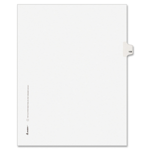 "Avery Style Individually Numbered Tab - 1 x Tab Printed 108 - 8.5"" x 11"" - 25 / Pack - White Divider"