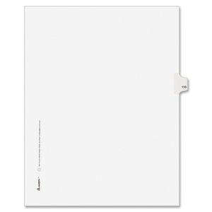 "Avery Style Individually Numbered Tab - 1 x Tab Printed 110 - 8.5"" x 11"" - 25 / Pack - White Divider"