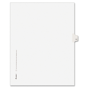 "Avery Style Individually Numbered Tab - 1 x Tab Printed 111 - 8.5"" x 11"" - 25 / Pack - White Divider"