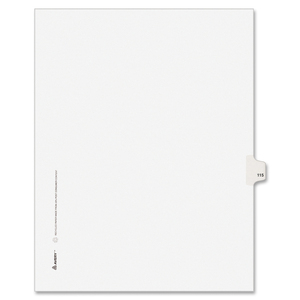 "Avery Style Individually Numbered Tab - 1 x Tab Printed 115 - 8.5"" x 11"" - 25 / Pack - White Divider"
