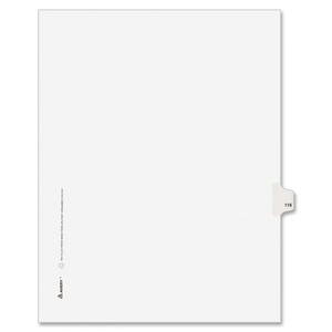 "Avery Style Individually Numbered Tab - 1 x Tab Printed 116 - 8.5"" x 11"" - 25 / Pack - White Divider"