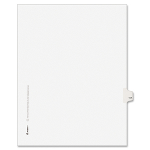 "Avery Style Individually Numbered Tab - 1 x Tab Printed 117 - 8.5"" x 11"" - 25 / Pack - White Divider"