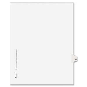 "Avery Style Individually Numbered Tab - 1 x Tab Printed 118 - 8.5"" x 11"" - 25 / Pack - White Divider"