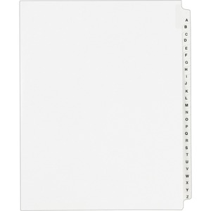 "Avery Standard Collated Legal Divider - 25 x Tab Printed ""A - Z"" - 25 Tab(s)/Set - 8.5"" x 11"" - 26 / Set - White Divider - White Tab"