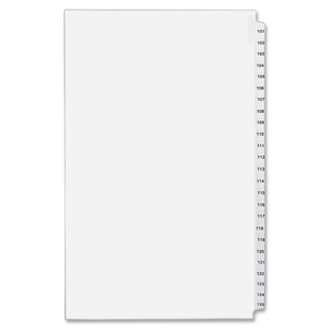 "Avery Side Tab Index Divider Set - 25 x Tab Printed 101-125 - 25 Tab(s)/Set - 8.5"" x 14"" - 25 / Set - White Divider - Clear Tab"