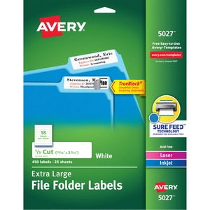 "Avery Extra Large Filing Label - 0.93"" Width x 3.43"" Length - 18/Sheet - Permanent - 450 / Pack - White"
