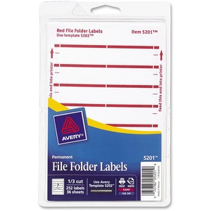 "Avery Typewritten/Handwritten Filing Label - 0.56"" Width x 3.44"" Length - Permanent - 252 / Pack - Dark Red"