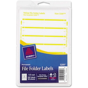 "Avery Typewritten/Handwritten Filing Label - 0.56"" Width x 3.44"" Length - Permanent - 252 / Pack - Yellow"