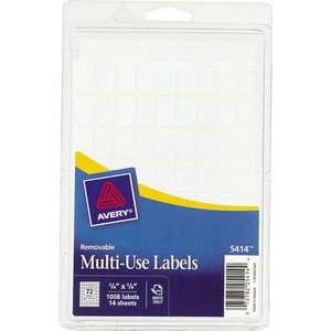 "Avery Handwritten Removable ID Label - 0.62"" Width x 0.38"" Length - Removable - 1000 / Pack - White"