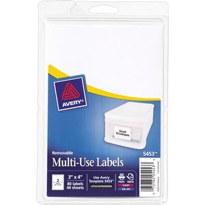 "Avery Handwritten Removable ID Label - 4"" Width x 3"" Length - Removable - 80 / Pack - White"