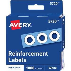 "Avery Reinforcement Label - 0.25"" Diameter - For Repair, Strengthen - Polyvinyl - 1000 / Pack - White"