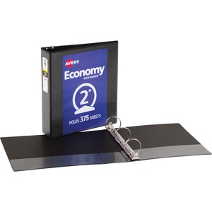 "Avery Economy Reference View Binder - Letter - 8.5"" x 11"" - 375 Sheet x 2"" Capacity - 1 Each - Black"