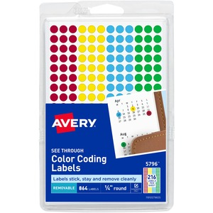 Avery See Through Round Color Coding Label AVE05796