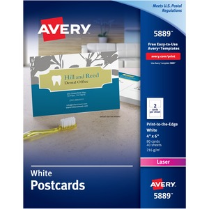 "Avery Color Laser Print-to-the-Edge Postcards - 4"" x 6"" - 80 / Box - White"