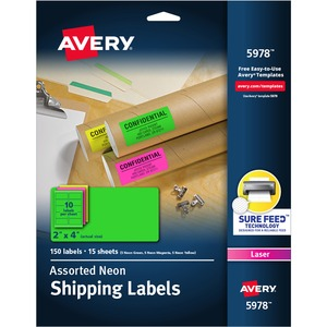 "Avery Neon Rectangle Laser Label - 2"" Width x 4"" Length - 10/Sheet - Permanent - 150 / Pack - Neon Yellow, Neon Green"