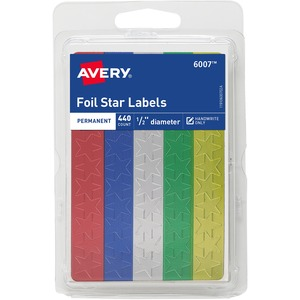 Avery Self-Adhesive Foil Stars - Star - 0.5&quot; - Foil - Red, Green, Gold, Silver, Blue