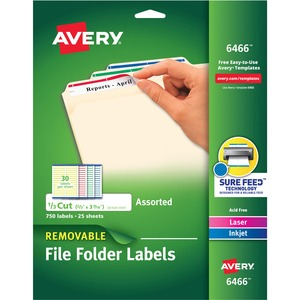"Avery Assorted Removable Filing Label - 0.66"" Width x 3.43"" Length - 30/Sheet - Removable - 750 / Pack - Green, Red, White, Yellow, Blue"