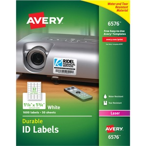 "Avery 6576 Permanent Durable I.D. Label - 1.2"" Width x 1.75"" Length - 32/Sheet - Permanent - 1600 Label - White"