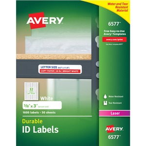 "Avery 6577 Permanent Durable I.D. Label - 0.62"" Width x 3"" Length - 32/Sheet - Permanent - 1600 Label - White"