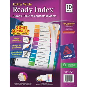 "Avery Table of Contents Index Divider - 10 x Tab Print-on - 9"" x 11"" - 10 / Set - Assorted Divider - Multicolor Tab"