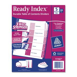 "Avery Uncollated Index Divider - 5 x Tab Printed 1 to 5 - 5 Tab(s)/Set - 8.5"" x 11"" - 24 / Box - Multicolor Tab"