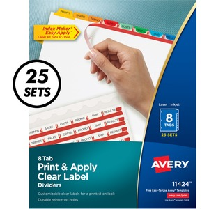 "Avery Index Maker Punched Clear Label Tab Divider - 200 x Divider - 8 x Tab Blank - 8 Tab(s)/Set - 8.5"" x 11"" - 25 / Box - Multicolor Tab"