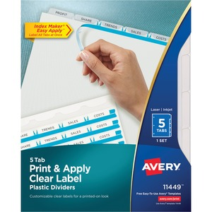 "Avery Index Maker Translucent Clear Label Divider - 5 x Divider - 5 x Tab Blank - 5 Tab(s)/Set - 8.5"" x 11"" - 5 / Set - Clear Tab"