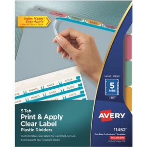 "Avery Index Maker Translucent Clear Label Divider - 5 x Tab Blank - 5 Tab(s)/Set - 8.5"" x 11"" - 5 / Set - Multicolor Tab"