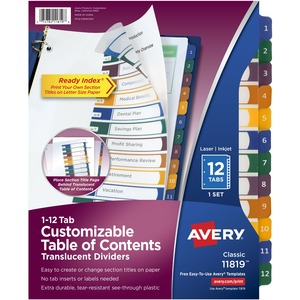 "Avery Ready Index Translucent Table Of Content Dividers - 12 x Tab - 12 Tab(s)/Set - 8.5"" x 11"" - 12 / Set - Clear Divider - Multicolor Tab"