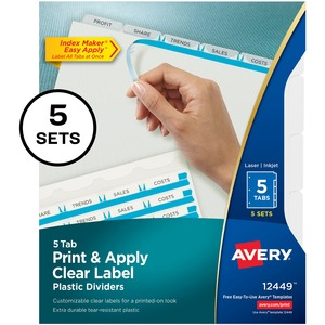 "Avery Index Maker Easy Apply Clear Label Divider - 5 x Tab Blank - 5 Tab(s)/Set - 8.5"" x 11"" - 5 / Pack - Clear Tab"