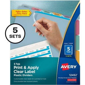 "Avery Index Maker Easy Apply Clear Label Divider - 5 x Tab Blank - 5 Tab(s)/Set - 8.5"" x 11"" - 5 / Pack - Assorted Tab"