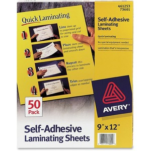 "Avery Self-Adhesive Laminating Sheets - 9"" Width x 12"" Length - Self-adhesive - 50 / Box - Clear"