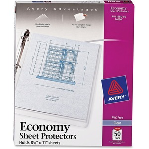 "Avery Top Loading Sheet Protector - Letter 8.5"" x 11"" - Polypropylene - 50 / Box - Clear"