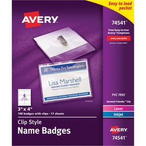 Avery CC10-4C Laser/Inkjet Clip Style Name Tag Kit - Media Holder Kit