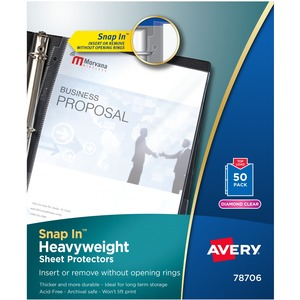 "Avery Snap In Top Loading Sheet Protector - For Ring Binder - Letter 8.5"" x 11"" - 50 / Box - Diamond Clear"