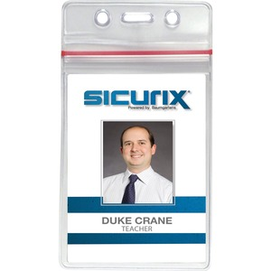 Baumgartens Sealable Vertical ID Badge Holder - Vinyl - 50 / Pack - Clear