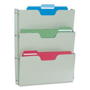 "Buddy Triple Wall Pocket - 17.5"" x 14.5"" x 2.5"" - 3 Pocket(s) - Steel - Platinum"