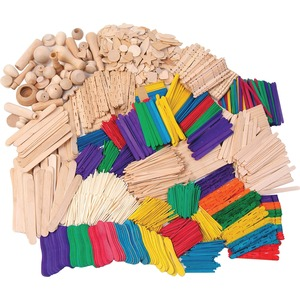 ChenilleKraft Wood Craft Classroom Activities Kit - 2100 Piece(s) - Natural