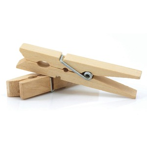 "ChenilleKraft Spring Clothespin - 3.38"" Length - Wood - 50 / Pack - Natural"
