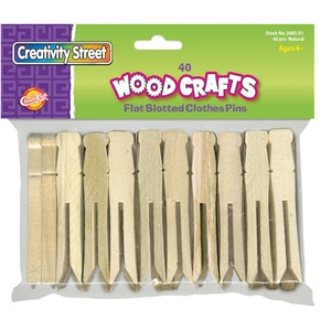 "ChenilleKraft Flat-Slotted Clothespin - 3.75"" Length - Wood - 40 / Pack - Natural"