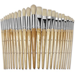 ChenilleKraft Round Wood Paint Brush Set - 24 Brush(es) - Nickel Plated Ferrule - Wood Handle